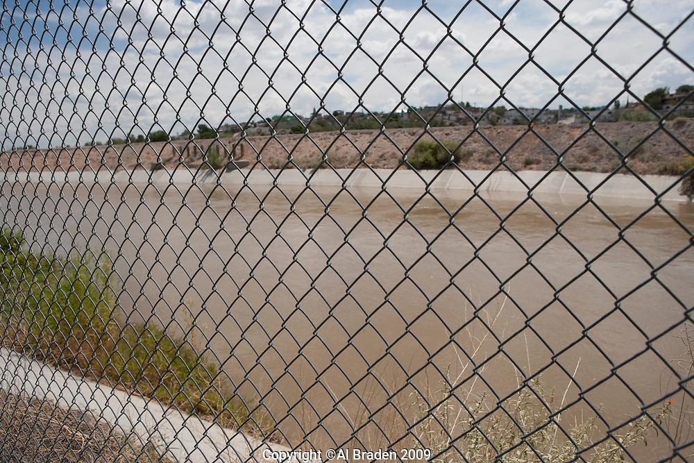 Rio Grande fence near El Paso del Norte Crossing by Juan de Ornate in 1598 and the beginning of the Camino Real to Santa Fe.