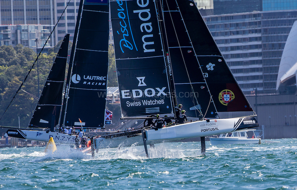 The Extreme Sailing Series 2016.Lautrec Racing: Chris Steele,Graeme Sutherland , Logan Dunning Beck/ Harry Hull , Tim Snedden/Luca Hyatt Brown,Josh Salthouse  .Act 8.Sydney,Australia. 8th-11th December 2016. Credit - Jesus Renedo/Lloyd Images