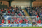 Simeon Jackson of St Mirren rises above everyone but cant get his header on target during the Ladbrokes Scottish Premiership match between St Mirren and Hamilton Academical FC at the Paisley 2021 Stadium, St Mirren, Scotland on 13 May 2019.