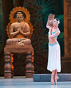 La Bayadere <br /> The Mariinsky Ballet <br /> at The Royal Opera House, London, Great Britain <br /> Press photocall 10th August 2017 <br /> <br /> Viktoria Tereshkina as Nikiya<br /> <br /> Photograph by Elliott Franks <br /> Image licensed to Elliott Franks Photography Services