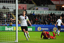 Marko Janko (Trabzonspor) of Austria scores a header late on - Photo mandatory by-line: Joe Meredith/JMP - Tel: Mobile: 07966 386802 06/02/2013 - SPORT - FOOTBALL - Liberty Stadium - Swansea  -  Wales V Austria - International Friendly