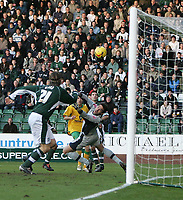 Photo: Lee Earle.<br /> Plymouth Argyle v Norwich City. Coca Cola Championship.<br /> 14/01/2006. Plymouth keeper Romain Larrieu is beaten by Darren Huckerby's (C) shot as he scored their equalising goal.