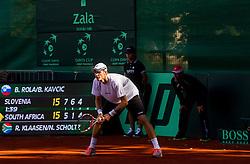 Blaz Rola during Davis Cup Slovenia vs. South Africa on September 14, 2013 in Tivoli park, Ljubljana, Slovenia. (Photo by Vid Ponikvar / Sportida.com)
