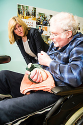 Pictured: Alison Johnstone met Bob Wigley who was enjoying the physiotheraphy room<br /> <br /> Scottish Greens Health and social care spokeswoman Alison Johnstone took the opportunity e to meet staff and visitors at Leuchie House respite centre in North Berwick today.<br /> <br /> Ger Harley | EEm 26 April 2016