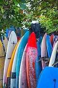 Surf boards for rent at Batubolong beach.