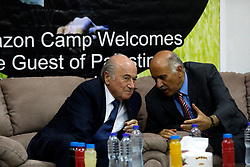 19.05.2015, Ramallah, PSE, FIFA Präsident Blatter besucht Palästina, im Bild der FIFA PRäsident Sepp Blatter bei seinem Palästina Besuch // FIFA president Joseph Blatter speaks with Palestine Football Association President Jibril Rajoub during their visit to Jalazoun refugee camp, near the West Bank city of Ramallah. Blatter hopes to head off a Palestinian call for a vote to expel Israel from football's governing body but that Israel must make a concession, Palestine on 2015/05/19. EXPA Pictures © 2015, PhotoCredit: EXPA/ APAimages/ Shadi Hatem<br /> <br /> *****ATTENTION - for AUT, GER, SUI, ITA, POL, CRO, SRB only*****