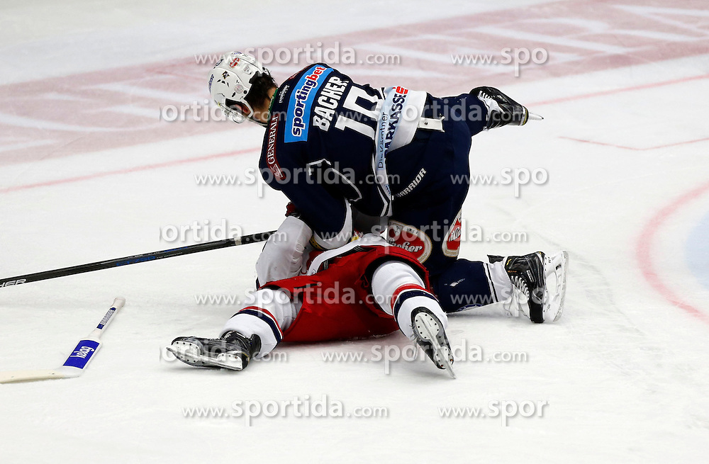 15.03. 2016, Stadthalle, Villach, AUT, EBEL, EC VSV vs EC Red Bull Salzburg, halbfinale, 2. Spiel, im Bild Brett Sterling (EC RBS) und Stefan Bacher (VSV) // during the Erste Bank Icehockey League 2nd semifinal match between EC VSV vs EC Red Bull Salzburg at the City Hall in Villach, Austria on 2016/03/15, EXPA Pictures © 2016, PhotoCredit: EXPA/ Oskar Hoeher