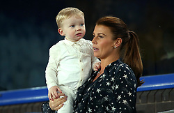 Coleen Rooney in the stands at Everton to watch her husband Wayne Rooney of Everton in action - Mandatory by-line: Robbie Stephenson/JMP - 01/01/2018 - FOOTBALL - Goodison Park - Liverpool, England - Everton v Manchester United - Premier League