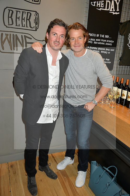 Left to right, DAVE GARDNER and DAMIAN MOULD at a party to celebrate the launch of Top Dog at 48 Frith Street, Soho, London on 27th May 2015