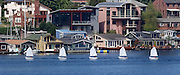 Eight-foot Optis are towed in Portage Bay before heading out into Lake Washington on the final day of Learn-to-Race Camp, sponsored by the Seattle Yacht Club. (Greg Gilbert / The Seattle Times)