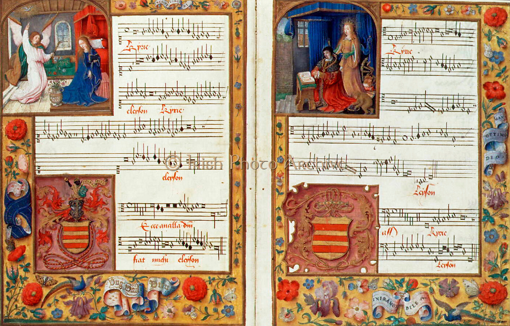 The Chigi Codex, one of the richest sources of Franco-Flemish polyphony of the last quarter of the fifteenth century, is also one of the most elaborate and precious of all illuminated music manuscripts. It contains thirteen masses of the great Flemish composer Johannes Ockeghem (ca. 1420-97), including this piece, the opening of Ockeghem's 'Missa Ecce Ancilla Domini.' The Annunciation scene appears in the illumination in the cantus part. The shields and crests were overpainted by the later Spanish owners of the manuscript.