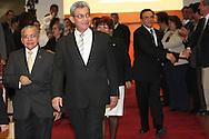 Ovidio Bonilla y Salomon Padilla abandonan la asamblea legislativa despues de ser juramentado como nuevo presidente de la Corte Suprema de Justicia, martes AGT 20,2012 en una seccion extraordinaria. La Sala de lo Costitucional declaro que la anterior eleccion incotitucional creando una crisis por mas de tres meses . Photo: Franklin Rivera/fmln/imagenes Libres