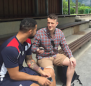 The Tele's Liam Kennedy talks to Dundee&rsquo;s Kane Hemmings  - Day 3 of Dundee FC pre-season training camp in Obertraun, Austria<br /> <br />  - &copy; David Young - www.davidyoungphoto.co.uk - email: davidyoungphoto@gmail.com