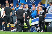 Portsmouth manager Paul Cook is sent to the stand during the Sky Bet League 2 play-off first leg match between Portsmouth and Plymouth Argyle at Fratton Park, Portsmouth, England on 12 May 2016. Photo by Graham Hunt.