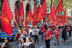 London, May 1st 2016. Members of the Communist Party of Great Britain are among various trade unions and workers' groups as they march through London on May Day, International Workers' Day. ©Paul Davey<br /> FOR LICENCING CONTACT: Paul Davey +44 (0) 7966 016 296 paul@pauldaveycreative.co.uk