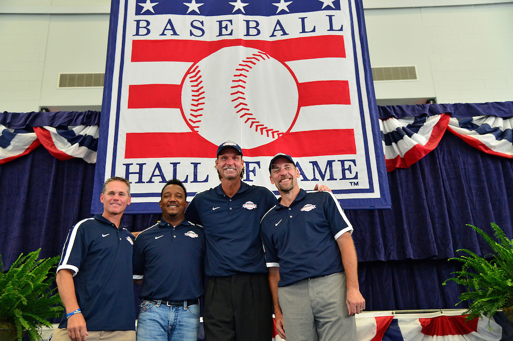 COOPERSTOWN, NY - JULY 25: National Baseball Hall of Fame inductees Craig Biggio, Pedro Martínez, Randy Johnson and John Smoltz smile for a photo at Clark Sports Center on July 25, 2015 in Cooperstown, NY. (Photo by Jennifer Stewart/Arizona Diamondbacks/Getty Images)