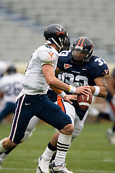 Virginia Cavaliers QB Marc Verica (6) is about to be sacked.  The University of Virginia Football Team played their Spring game at Scott Stadium in Charlottesville, VA on April 14, 2007.