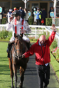 HAMISH (1) ridden by Daniel Tudhope and trained by William Haggas enter the Winners Enclosure and the Head Lad celebrates after winning The Racebets Handicap Stakes over 1m 6f (£100,000) during the October Finale Meeting at York Racecourse, York, United Kingdom on 11 October 2019.