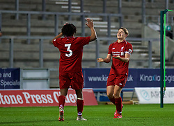 ST HELENS, ENGLAND - Monday, January 21, 2019: Liverpool's captain Paul Glatzel (R) celebrates scoring the second goal during the FA Youth Cup 4th Round match between Liverpool FC and Accrington Stanley FC at Langtree Park. (Pic by Paul Greenwood/Propaganda)
