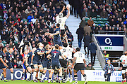 Fiji win a linnet in the second half during the Autumn International Series match between England and Fiji at Twickenham, Richmond, United Kingdom on 19 November 2016. Photo by Ian  Muir.