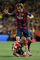 Barcelona´s Rakitic (L) and Athletic de Bilbao´s Mikel Rico during 2014-15 Copa del Rey final match between Barcelona and Athletic de Bilbao at Camp Nou stadium in Barcelona, Spain. May 30, 2015. (ALTERPHOTOS/Victor Blanco)