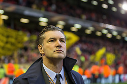 14.04.2016, Anfield Road, Liverpool, ENG, UEFA EL, FC Liverpool vs Borussia Dortmund, Viertelfinale, Rueckspiel, im Bild Sportdirektor Michael Zorc (Borussia Dortmund) // during the UEFA Europa League Quaterfinal, 2nd Leg match between FC Liverpool vs Borussia Dortmund at the Anfield Road in Liverpool, Great Britain on 2016/04/14. EXPA Pictures &copy; 2016, PhotoCredit: EXPA/ Eibner-Pressefoto/ Schueler<br /> <br /> *****ATTENTION - OUT of GER*****