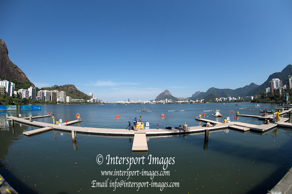 Rio de Janeiro. BRAZIL. General View of the start installation , 2016 Olympic Rowing Regatta. Lagoa Stadium,<br /> Copacabana,  &ldquo;Olympic Summer Games&rdquo;<br /> Rodrigo de Freitas Lagoon, Lagoa. Local Time 11:11:11  Saturday  06/08/2016<br /> [Mandatory Credit; Peter SPURRIER/Intersport Images]