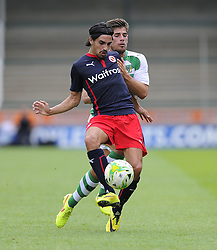 Reading's Ryan Edwards battles for the ball with Yeovil Town's Joe Edwards - Photo mandatory by-line: Joe Meredith/JMP - Mobile: 07966 386802 19/07/2014 - SPORT - FOOTBALL - Yeovil - Huish Park - Yeovil Town v Reading