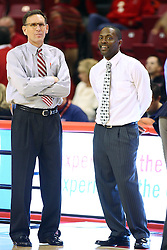 02 February 2013:  ISU Assistant Coach Rob Judson and SIU Assistant Coach Anthony Beane during an NCAA Missouri Valley Conference mens basketball game where the Salukis of Southern Illinois lost to the Illinois State Redbirds for Retro-Night 83-47 in Redbird Arena, Normal IL