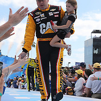 Race car driver Ryan Newman is seen during driver introductions prior to the 58th Annual NASCAR Daytona 500 auto race at Daytona International Speedway on Sunday, February 21, 2016 in Daytona Beach, Florida.  (Alex Menendez via AP)