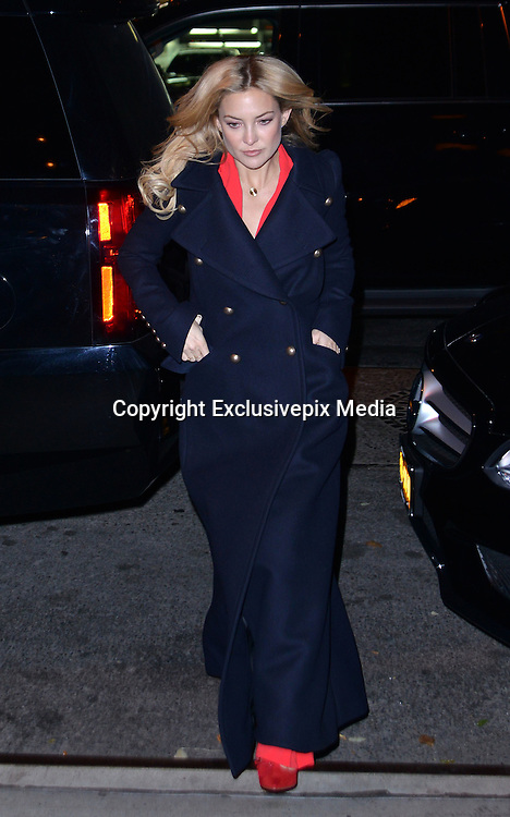 Nov. 18, 2015 - New York, NY, USA -<br /> <br /> Actress Kate Hudson keeps warm in a military style coat as she arrives at a downtown hotel<br /> &copy;Exclusivepix Media