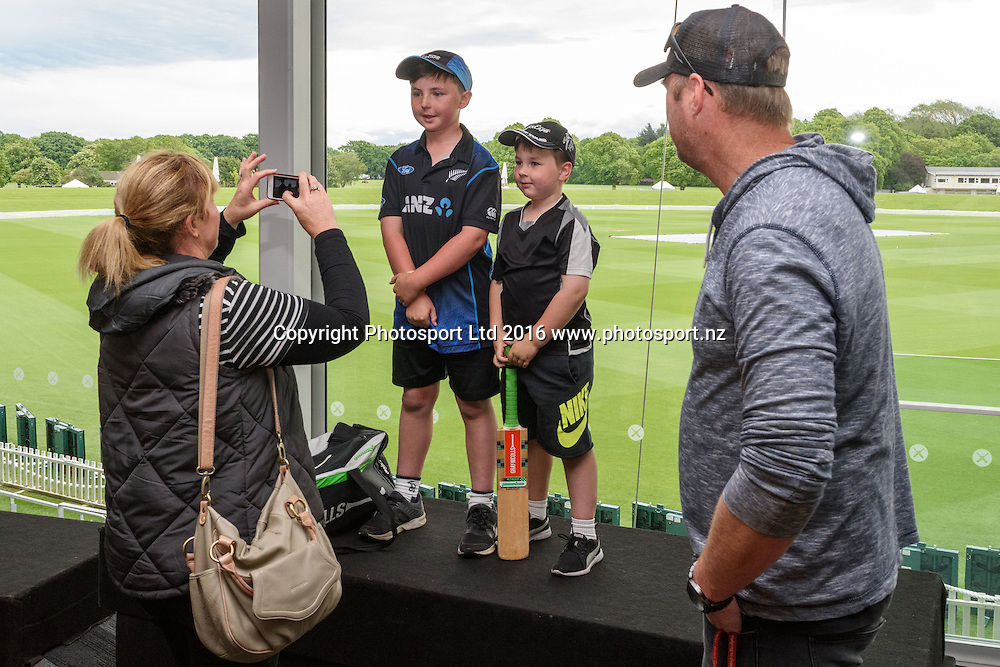 Young Blackcaps fans pose for their parents during a Blackcaps Barbecue at Hagley Oval in Christchurch, New Zealand. 14 November 2016. Photo: Kai Schwoerer / www.photosport.nz