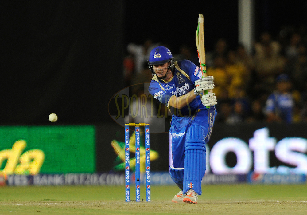 James Faulkner of Rajasthan Royals bats during match 22 of the Pepsi IPL 2015 (Indian Premier League) between The Rajasthan Royals and The Royal Challengers Bangalore held at the Sardar Patel Stadium in Ahmedabad , India on the 24th April 2015.<br /> <br /> Photo by:  Pal Pillai / SPORTZPICS / IPL