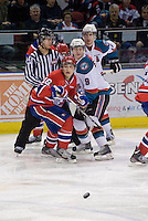 KELOWNA, CANADA, DECEMBER 27: Reid Gow #18 of the Spokane Chiefs and Zach Franko #9 of the Kelowna Rockets look for the pass at the Kelowna Rockets on December 7, 2011 at Prospera Place in Kelowna, British Columbia, Canada (Photo by Marissa Baecker/Getty Images) *** Local Caption ***