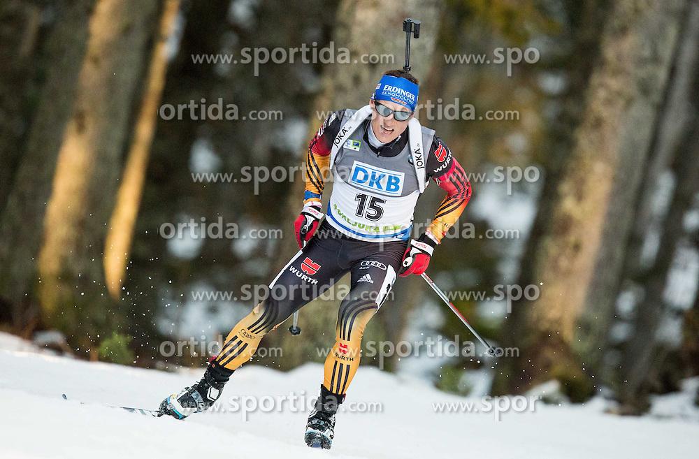 19.12.2014, Rudno polje, Pokljuka, SLO, IBU Weltcup Biathlon, Pokljuka, Sprint, Herren, im Bild LESSER Erik (GER) competes // during the Mens Sprint of E. ON IBU Biathlon World Cup at the Rudno polje in Pokljuka, Slovenia on 2014/12/19. EXPA Pictures &copy; 2014, PhotoCredit: EXPA/ Sportida/ Vid Ponikvar<br /> <br /> *****ATTENTION - OUT of SLO, FRA*****