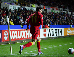 Gareth Bale (Tottenham Hotspur) of Wales swings in a corner - Photo mandatory by-line: Joe Meredith/JMP - Tel: Mobile: 07966 386802 26/03/2013 - SPORT - FOOTBALL -  Liberty Stadium - Swansea -  Wales V Croatia - WORLD CUP QUALIFIER