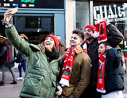 Fans take a selfie before the match<br /> <br /> Photographer Simon King/Replay Images<br /> <br /> Six Nations Round 1 - Wales v Italy - Saturday 1st February 2020 - Principality Stadium - Cardiff<br /> <br /> World Copyright © Replay Images . All rights reserved. info@replayimages.co.uk - http://replayimages.co.uk