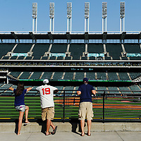 CLEVELAND, OH USA - JULY 6: A few lucky fans enjoy a view of the field before the game between the Cleveland Indians and the New York Yankees at Progressive Field in Cleveland, OH, USA on Wednesday, July 6, 2011.