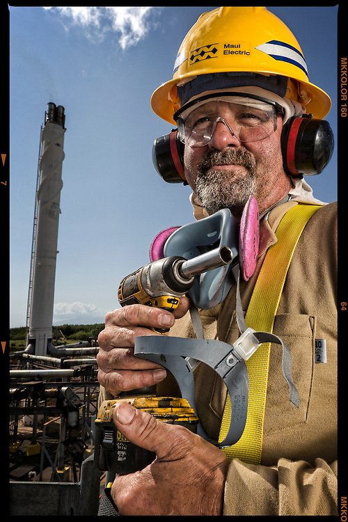 """MECO Diesel Maintenance Mechanic Paul Patchen has been on the job 11 years at Molokai's only power plant. """"I love the multi-taking that goes on everyday, seems like there's a new challenge to accomplish all the time."""""""