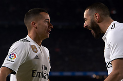 February 6, 2019 - Barcelona, Barcelona, Spain - Lucas Vazquez of Real Madrid  celebrates after scoring his sides first goal whit Karim Benzema during the Spanish Cup (King's cup), first leg semi-final match between FC Barcelona and  Real Madrid at Camp Nou stadium on February 6, 2019 in Barcelona, Spain. (Credit Image: © Jose Breton/NurPhoto via ZUMA Press)