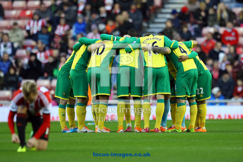 Picture by Paul Chesterton/Focus Images Ltd +44 7904 640267<br /> 21/12/2013<br /> The Norwich players in the pre match huddle before the Barclays Premier League match at the Stadium Of Light, Sunderland.