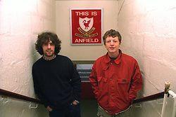 "LIVERPOOL, ENGLAND - 1996: John Power (R) and Peter ""Cammy"" Cammell of band Cast in the players' tunnel at Anfield, home of Liverpool FC. (Pic by David Rawcliffe/Propaganda)"