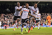Fulham forward Gohi Bi Cyriac (9), Fulham defender Ryan Sessegnon (30), Fulham midfielder Neeskens Kebano (7) celebrate 2nd goal during the EFL Sky Bet Championship match between Fulham and Blackburn Rovers at Craven Cottage, London, England on 14 March 2017. Photo by Sebastian Frej.