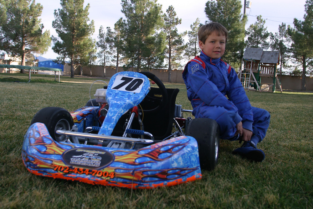 Chris Trickle 6 in with his go Kart at his home in Las Vegas Nevada. Thursday March 1.2007....Chris  is a professional go kart race driver...He weans few competitions in Nevada and California...He rise up in a family that in the NASCAR drivers his grandfather was a NASCAR driver and his ankle is a champion of NASCAR drivers...His dream is to drive a NASCAR car that belongs to his uncle that he name after and got killed in Las Vegas...