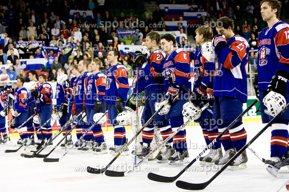 Players of Slovenia after the IIHF Ice-hockey World Championships Division I Group B match between National teams of Slovenia and Great Britain, on April 20, 2010, in Tivoli hall, Ljubljana, Slovenia. Slovenia defeated Great Britain after overtime 4-3. (Photo by Vid Ponikvar / Sportida)