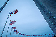 Fifty American flags encircle the Washington Monument on the Mall in Washington DC.