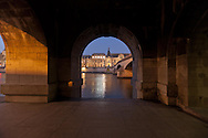 = caroussel bridge on the seine river going to the Louvre museum. at sunset    France  +