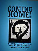 """Coming Home title wall image by:<br /> <br /> Mary T. Smith (1904 or 1905-1995)<br /> """"Halleluja Lady,"""" 1987<br /> Paint on plywood, 23.25 x 24<br /> Collection of Dan and Kristi Cleary<br /> <br /> The pose of Mary T. Smith's """"Halleluja Lady"""" who is pictured with upraised arms is known in both black and white churches. The gesture, which is sometimes identified as one of prayer, praise or supplication, appears in ancient African works of art and is also found in Western European artistic traditions going back to Early Christian times.<br /> <br /> What is """"Coming Home?""""<br /> <br /> Coming Home! Self-Taught Artists, the Bible and the American South is an exhibition of art by 70 untrained Southern artists. These works show the Bible's influence and the teachings of evangelical Protestantism, the religion most prevalent in the South. <br /> <br /> Coming Home! demonstrates the extraordinary creativity of self-taught artists,how the Bible's influence permeates their art, and how their work relates to other forms of Southern artistic expression, such as literature and music. The exhibition is divided into 4 parts: Southern Religious Life, The Garden of Eden, The New Adam, and The New Heavens and Earth."""