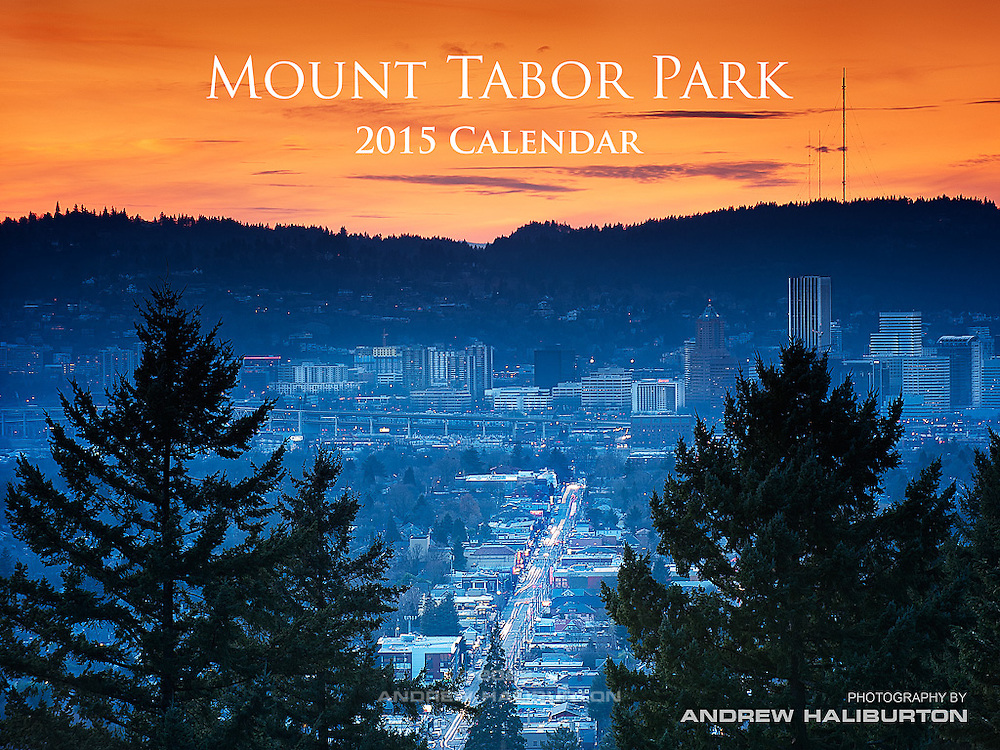 Portland sunset from Mount Tabor Park