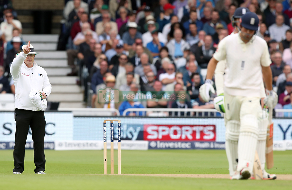 Umpire signals out for England's Alastair Cook after a review during day two of the Second Investec Test match at Trent Bridge, Nottingham.